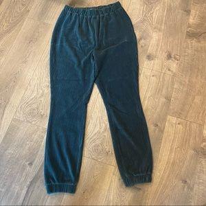 Fashion Nova Green Velvet Jogger Pants Large